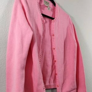 L.L. Bean | Pink Button Up Cardigan / Size: S